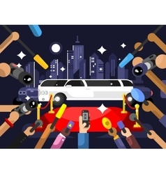 Limousine and red carpet vector image vector image