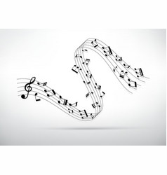 Little curve of music chords and shadow vector image vector image
