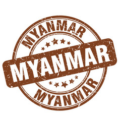 Myanmar brown grunge round vintage rubber stamp vector