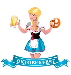 oktoberfest beer with girl vector image