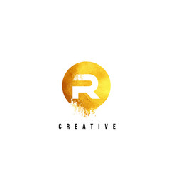 R gold letter logo design with round circular vector