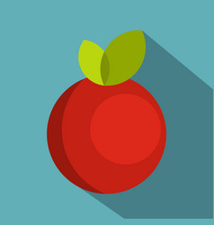 red round apple with leaves icon flat style vector image vector image