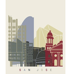 San jose skyline poster vector