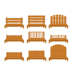 Set of different types of wooden benche icon vector