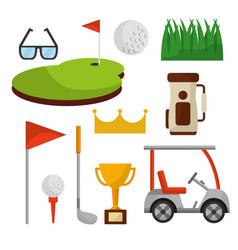 set of golf club equipment sport vector image
