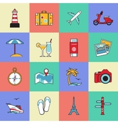 Set of travel and tourism line icons Flat style vector image vector image
