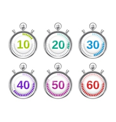 Six Colorful Stopwatches with Varying Times vector image