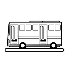 Sketch silhouette image public service bus with vector