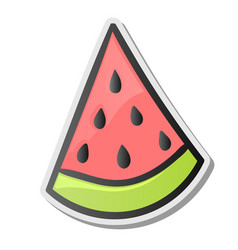 slice of watermelon sticker emoji style vector image