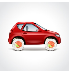 Sushi delivery car concept vector image