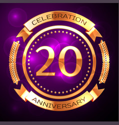 Twenty years anniversary celebration with golden vector