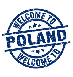welcome to poland blue stamp vector image vector image