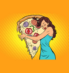 woman hugging a pizza vector image vector image