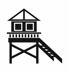 Wooden stilt house icon simple style vector