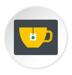 yellow tea cup with teabag icon circle vector image vector image