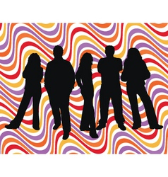 Young people retro background vector