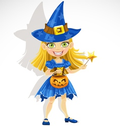 Cute little girl dressed as a witch trick or treat vector
