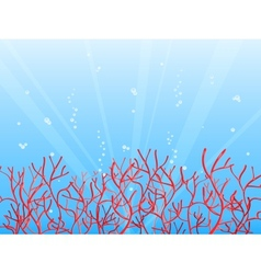 Red coral in blue ocean vector
