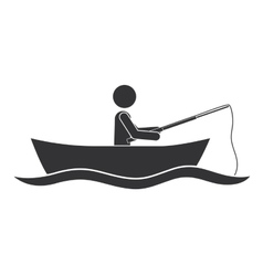 monochrome silhouette with man in boat of fishing vector image