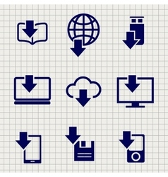 Different devices downloading data sketch icons vector