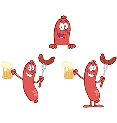 Sausage with bear collection vector