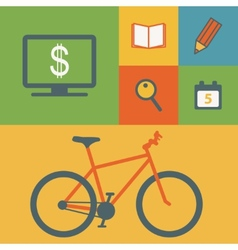 Business icons and bicycle vector