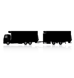 Silhouette of a truck with a trailer vector