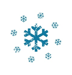 Grunge snowing icon vector