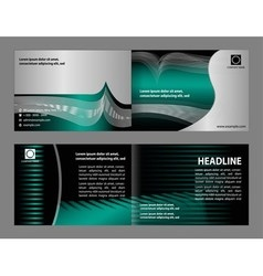 Empty bi-fold brochure print template vector
