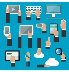 Hands icons with digital devices vector image