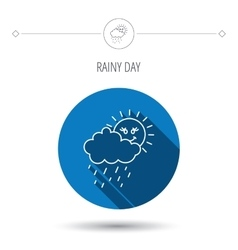 Rain and sun icon water drops and cloud sign vector