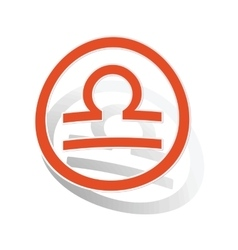 Libra sign sticker orange vector