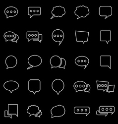 Speech Bubble line icons on black background vector image