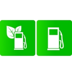 Green bio gas station icons vector
