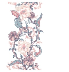 Vintage seamless border with blooming magnolias vector