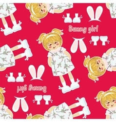 Seamless pattern kawaii baby girl with vector