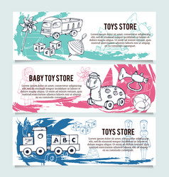 Children toys store banners or website header set vector