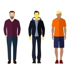 Three men flat style icon people figures vector