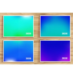 Set of blue flares on wooden background vector