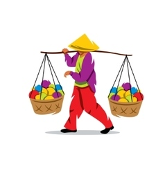 Asian vendor cartoon vector