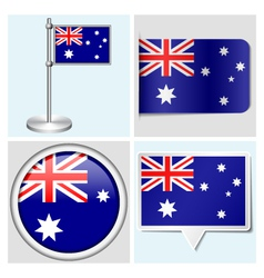 Australia flag - sticker button label flagstaff vector image vector image