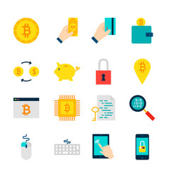 Bitcoin cryptocurrency objects vector