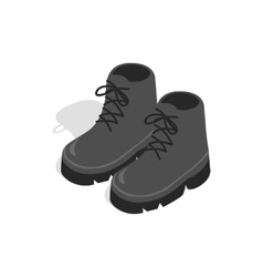 Black boots icon in isometric 3d style vector