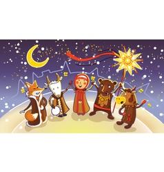 Celebration of winter holiday kalyadi vector