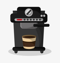 Coffee espresso machine and glass disponsable vector