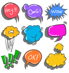 Collection of text balloon doodles vector