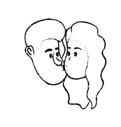 Figure avatar couple face kissing with hairstyle vector
