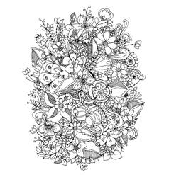 flowers zentangl doodle vector image vector image