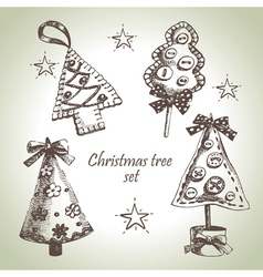 Hand drawn Christmas tree design set vector image vector image