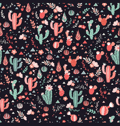 Happy cacti seamless pattern vector